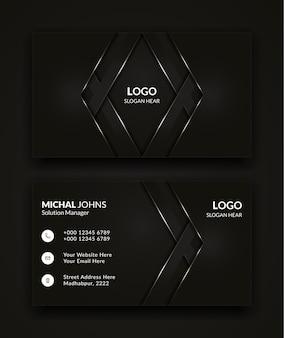 Modernes visitenkartenschablonendesign in der schwarzen farbe.