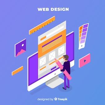 Modernes webdesignkonzept mit isometrischer ansicht