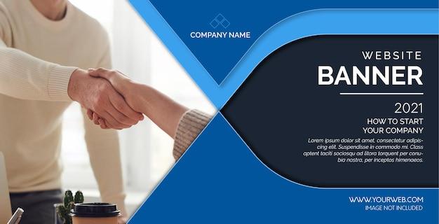 Modernes website-banner mit abstrakten blauen formen