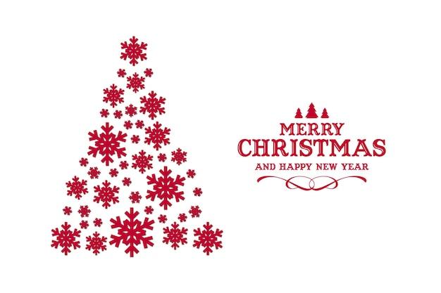 Modernes weihnachten mit schneeflocken-weihnachtsbaum
