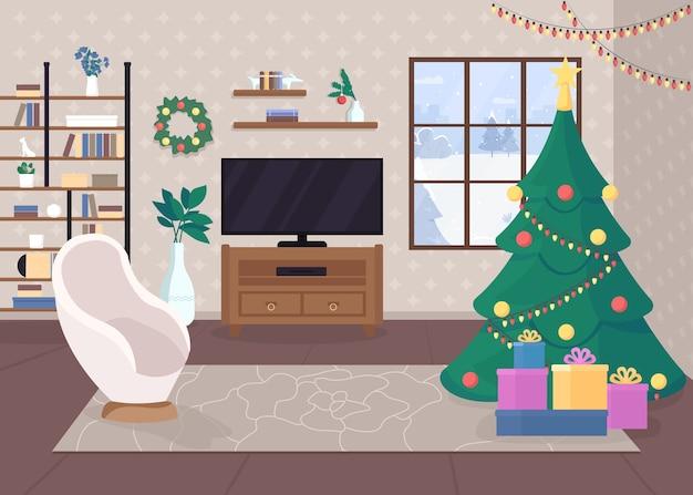 Modernes weihnachtshaus innerhalb der flachen farbillustration