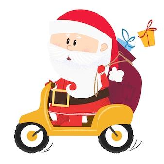 Modernes weihnachtsmannfahren auf roller