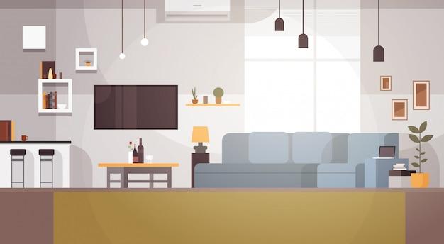 Modernes wohnzimmer-innenraum leeres kein leute-haus