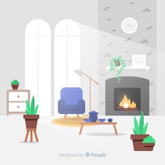 Modernes wohnzimmer mit flachem design