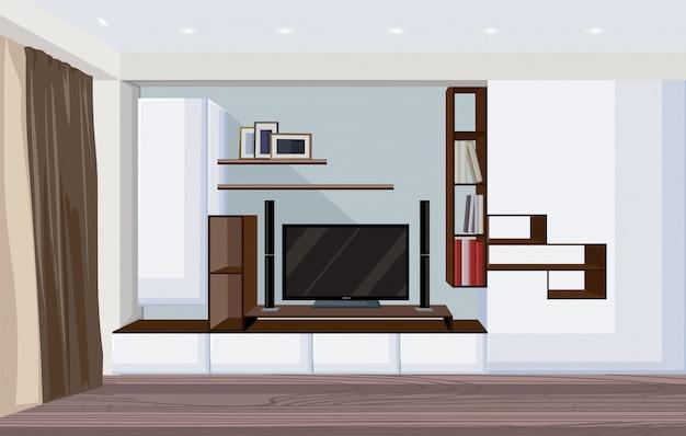 Modernes wohnzimmer mit großem fernseher und regalen für bücher und fotorahmen