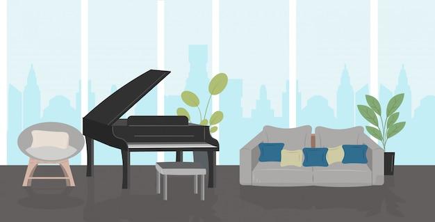 Modernes wohnzimmer mit möbeln und schwarzem flügel home interior horizontal