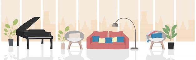 Modernes wohnzimmer mit möbeln und schwarzem flügelhauptinnenraum horizontal