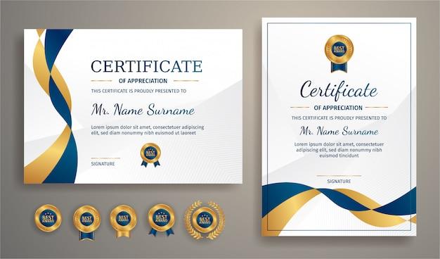 Modernes zertifikat in blau und gold mit goldabzeichen und randschablone