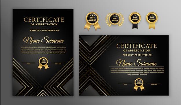 Modernes zertifikat mit abzeichen gesetzt