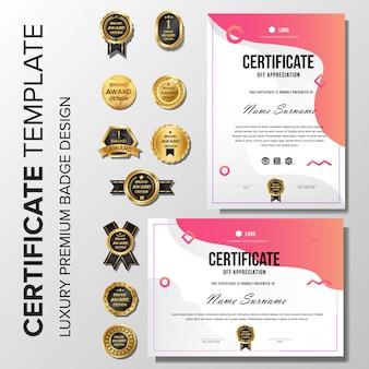 Modernes zertifikat mit abzeichen