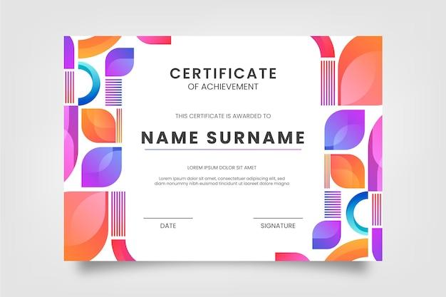 Modernes zertifikat mit farbverlauf