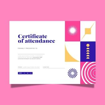 Modernes zertifikat mit flachem design