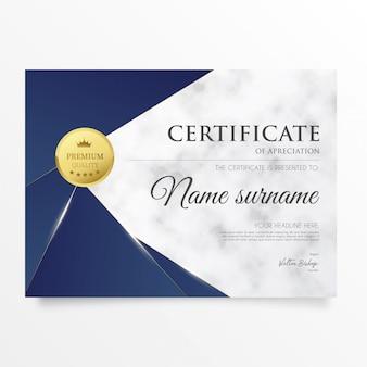Modernes zertifikat mit marmorhintergrund