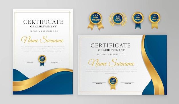 Modernes zertifikatdesign blau und gold mit abzeichen