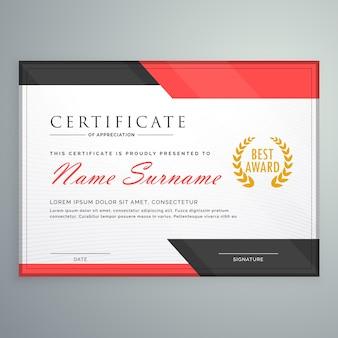 Modernes zertifikatdesign mit geometrischen roten und schwarzen formen