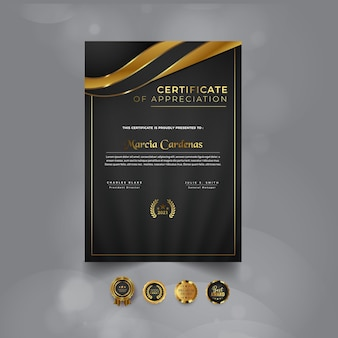 Modernes zertifikatsvorlagendesign mit farbverlauf