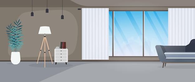 Modernes zimmer mit großen fenstern. sofa, ständer mit büchern, stehlampe, zimmerpflanze, panoramafenster, zimmer, büro. vektor-illustration.