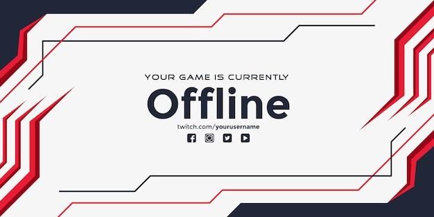 Modernes zuckendes offline-banner mit abstrakten roten formen