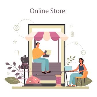 Modeschöpfer oder schneider online-service oder plattform. professioneller meister beim nähen von kleidung. schneiderin arbeitet an kraftnähmaschine. online-shop.