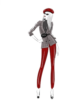 Modeskizze der frauenzahl im roten barett