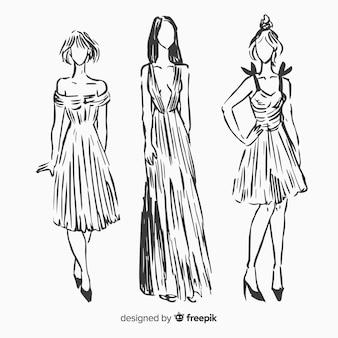 Modeskizzensammlung mit modellen