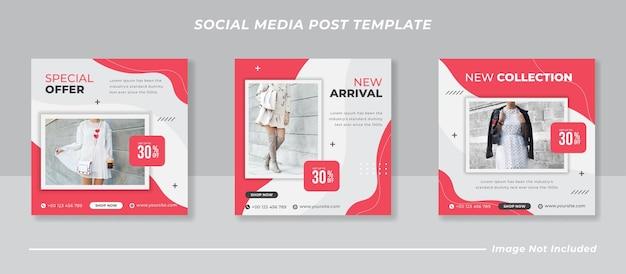 Modeverkauf banner oder quadratischer flyer für social media post vorlage