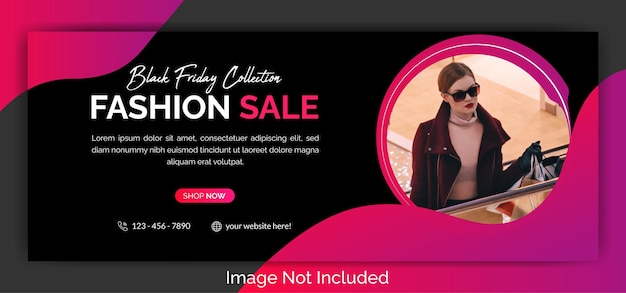 Modeverkauf facebook cover template design premium-vektor