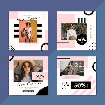 Modeverkauf instagram beiträge mit foto-set
