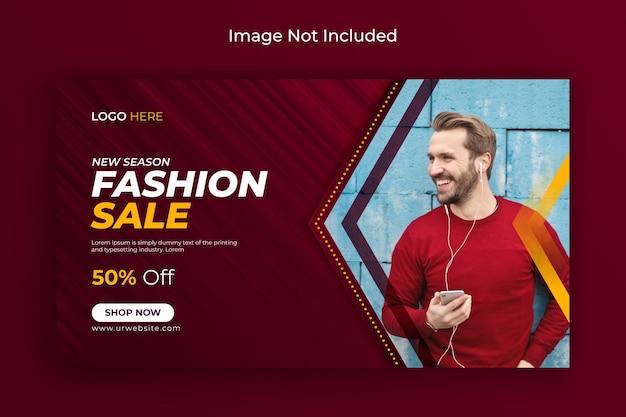Modeverkauf social media post facebook titelbild und webbanner vorlage premium-vektor