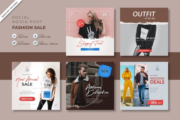 Modeverkauf social media post vorlage Premium Vektoren