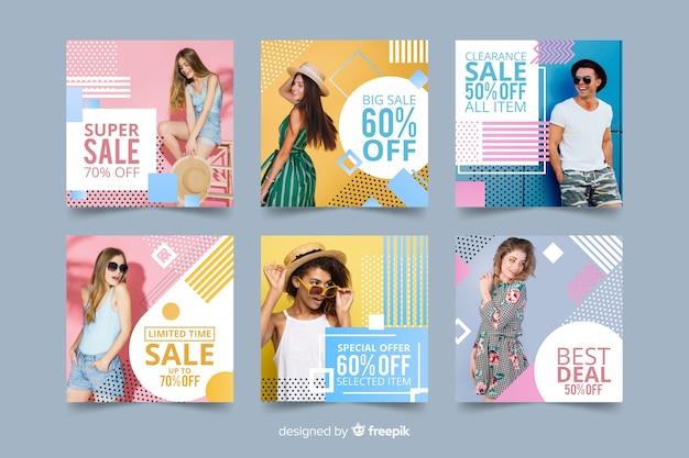Modeverkaufs-fahnensammlung mit foto