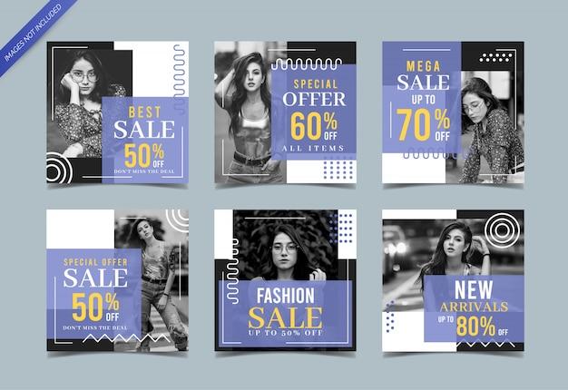 Modeverkaufs-social media-fahnensammlung