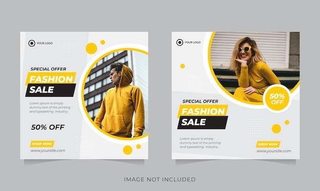 Modeverkaufsbanner oder quadratischer flyer für social-media-post-vorlage