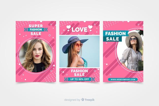 Modeverkaufsfahnen mit foto