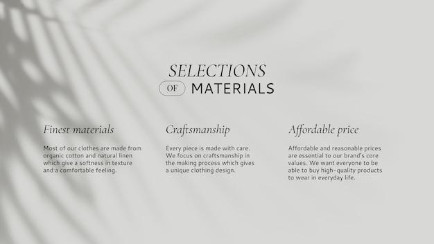Modevorlagenauswahl des materials mit blattschatten