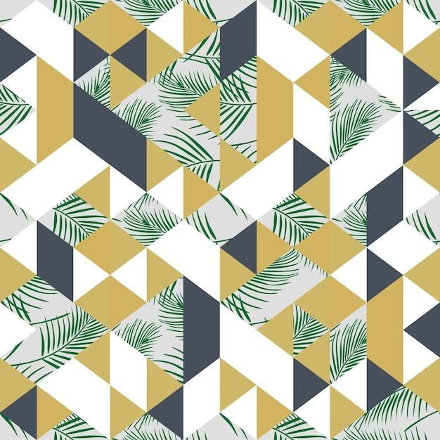 Modische bunte palmblätter der weinlese und dreieckmuster
