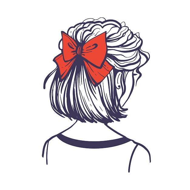 Modische frisur mit roter haarschleife. nette weibliche frisur mit haarschmuck. rückansicht. handgezeichnete vektor-illustration im doodle-stil isoliert auf weißem hintergrund.