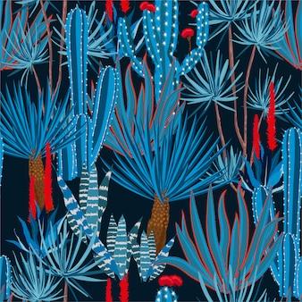 Modische hand, die nahtloses muster der kaktuspflanze und der blumen zeichnet.