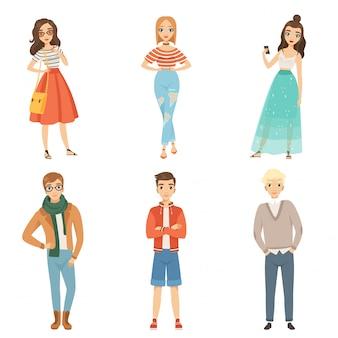Modische jungs und mädchen. männliche und weibliche charaktere der karikatur in den verschiedenen modehaltungen