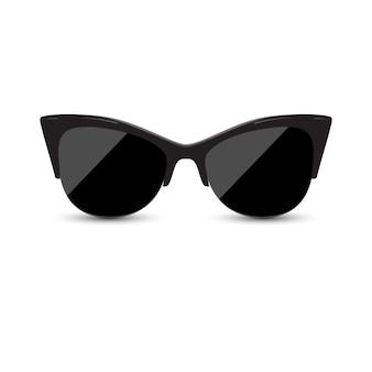 Modische weibliche schwarze brillenmiezekatze.
