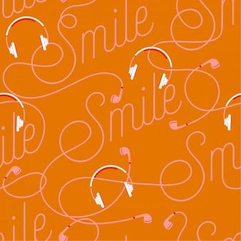 Modische wortlaut des lächelns schaffen durch nahtloses muster des modernen kopfhörers