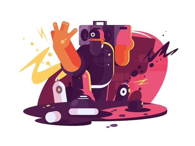 Modischer hip-hop-mann-typ mit klebeband auf der schulter. illustration