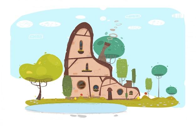 Modisches flaches gemütliches familien-steinhaus in der landschaft