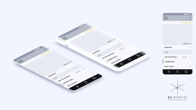 Modisches isometrisches vektor-smartphone. mobile app showcase.