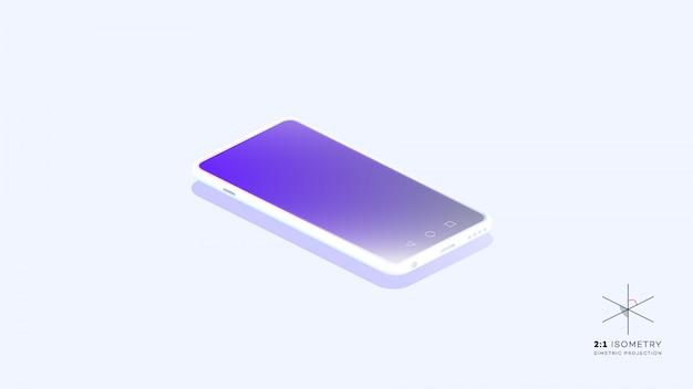 Modisches isometrisches vektor-smartphone. web template mobile app mockup.
