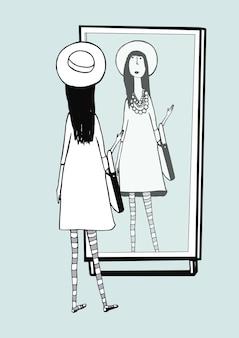 Modisches mädchen sieht im spiegel aus. frau mit stylischem retro-accessoires-hut, gestreifter strumpfhose, handtasche. handgezeichnete monochrome vektorgrafik.