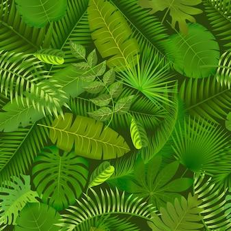 Modisches nahtloses tropisches musterdesign mit hellgrünen pflanzen und blättern auf dunklem hintergrund. dschungeldruck.