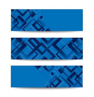 Modisches schablonenbanner des modernen blauen quadratischen gradienten