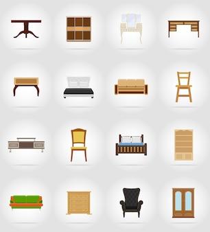Möbel flache ikonen gesetzt.