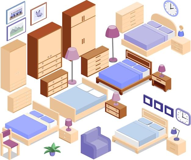 Möbel für schlafzimmer im isometrischen stil.
